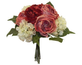 Cabbage Roses & Hydrangeas Bouquets ~ MANY COLORS ~ Bridal Bridesmaid Toss Artificial Real Touch Silk Wedding Flowers
