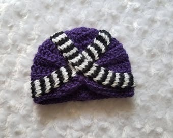 Crochet Hmong Purple Hat