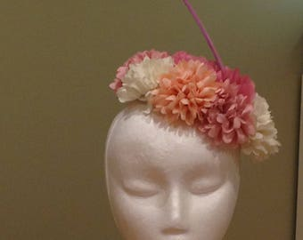 Beautiful sinamay hat with flowers wedding ladies day