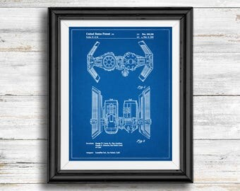 Star Wars TIE Bomber Full Image Patent Poster, TIE Bomber Print, Starwars Art, Star Wars Characters, Vintage, Spaceship, Wall Art Decor