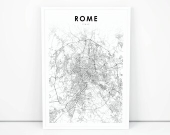 Rome Map Print, Italy Italia Map Art Poster, City Street Road Map Print, Nursery Room Wall Office Decor, Printable Map