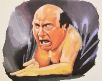 FRANK REYNOLDS, Instant Download, Danny Devito, Always Sunny, Is There a Man in that Couch?, Digital Download of Original Gouache Painting