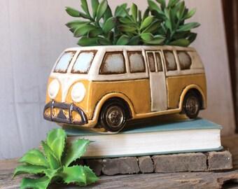 Retro Ceramic Painted Hippy Van Planter