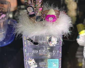 Swarovski Crystals embellished makeup organizer .. with Unicorn accents