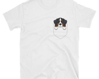 Funny Bernese Mountain Pocket T-Shirt Cute Dog Gift