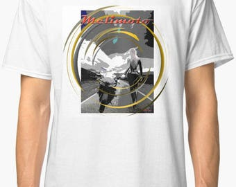 Inished productions Catwoman inspired classic retro bespoke urban Motorcycle art T-Shirt Melimoto