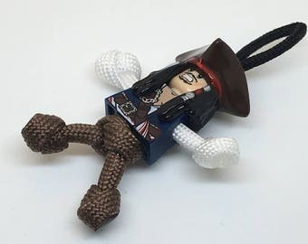 Captain Jack Sparrow PARABUDDY keyring, zip puller - handmade in UK