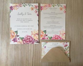 Warm Rose Invitation Set. Invite, RSVP, Information Card and Envelopes.