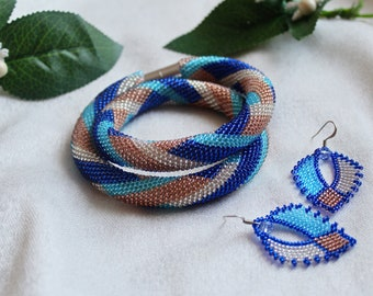 Colored necklace with earrings Necklace from beads Earrings from beads Beaded harness Crochet Necklace Beaded Blue Necklace and earrings