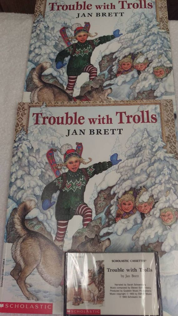 Trouble with Trolls Cassette tape and 2 books by Jan Brett.