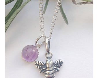 Bees in lavender, beautiful Sterling silver & amethyst bee necklace.