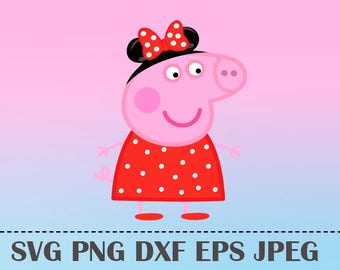 Peppa pig svg etsy svg peppa pig minnie pig vector layered cut file silhouette cameo cricut design template stencil vinyl voltagebd Images