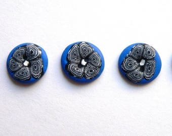 Blue White Black Flower Buttons - handmade in polymer clay