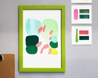 Framed botanical Paper Collage Series Handmade Original Artwork Handcut Illustration