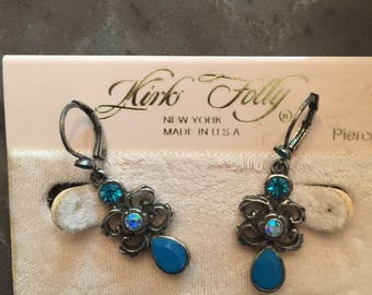 """Kirks Folly  Turquoise  """"Masquerade"""" EARRINGS  new (other)"""