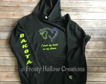 "Custom TWO COLOR ""I wear my heart on my sleeve"" hooded sweatshirt with horses name hoodie, horse, equestrian, personalized"