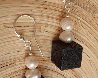 Almost classic, Earrings made of lava, pearls and silver