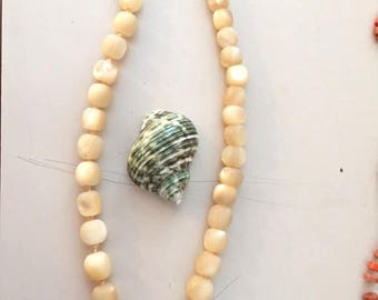 130 gr Antique 19 th c  Mother of Pearl Necklace w Shell Pendant