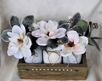 Mason Jar Centerpiece,Rustic Decor,Country Planter Box,Mason Jar, Country Mason Jar,Centerpiece,Spring Mason Jar