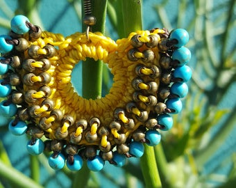 Artisan Crochet Earrings in Yellow with Turquoise Beading from Oaxaca, Mexico