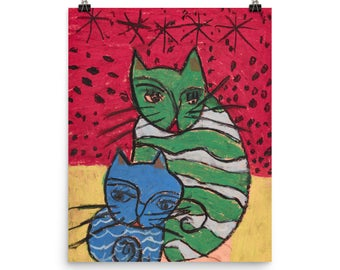 Two Crazy Cats - Beautiful Archival Cotton Rag Fine Art Giclée Print Supporting the Nonprofit Fresh Artists