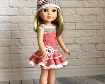"""14.5"""" doll outfit, grey,coral,hand crocheted, fits dolls like Wellie Wishers American Girl"""