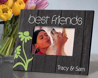 Personalized BFF Dancing Daisies Picture Frame - Best Friends Photo Frames - Best Friends Picture Frames - Personalized Friend Frames