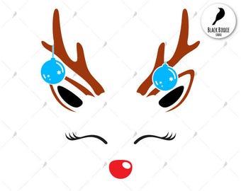 Reindeer face svg, reindeer face clipart, reindeer svg, reindeer christmas ball svg, cricut silhouette – eps dxf png pdf svg – digital files