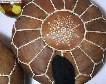 Lot 2 PCS : -19% Wood color Beautiful Moroccan Pouf Exellent Quality, Leather pouf, Ottoman pouf, Authentic Moroccan Leather Pouffe