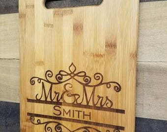 Mr. & Mrs. Laser engraved bamboo cutting board (Large)