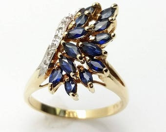 14k Yellow Gold Marquise Sapphire and Diamond Ring