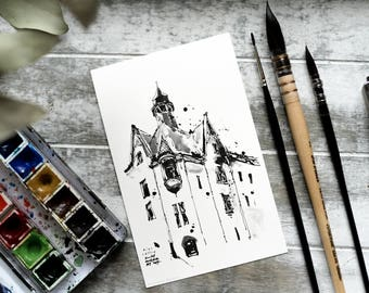 """Set of 20 Watercolor Coloring Post Cards, coloring pages, coloring book, Christmas gift - """"Riga, Latvia"""" by Rudy Murdock"""