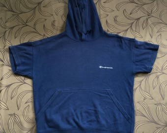 Rare!! Vintage Champion Hoodie Sweatshirt Small Logo Spell Out Blue Sweater Size L