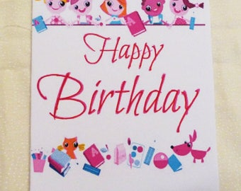 Handmade Greeting Card, Girls Happy Birthday Card,  Childrens Birthday Greeting Card, Made in the USA, #6