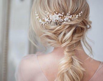 Wedding hair comb Bridal hair comb Gold bridal comb Pearl headpiece flower headpiece Flower hair comb Wedding hair accessories Ivory comb
