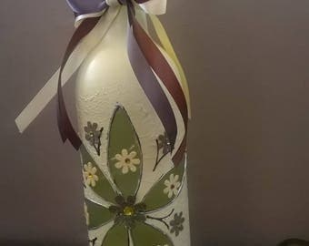 Beautiful Bespoke handpainted wine bottle in cream and chocolate brown filled with LED fairy lights ideal gift for birthday or anniversary.