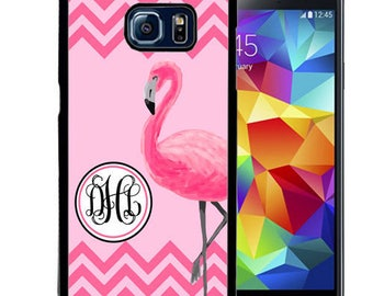 Monogrammed Rubber Case For Samsung Note 3, Note 4, Note 5, or Note 8- Pink Flamingo Chevron