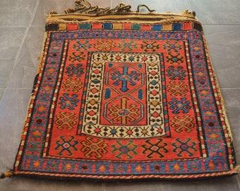 Rare Antique CAUCASIAN SUMAC Tibal SHAHSAVAN Storage Bag Face Circa 1900's