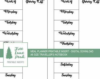 Meal Planner Printable TN Insert - A6 Size