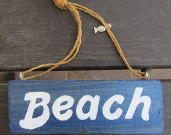 Handmade BEACH Sign - Blue Handpainted Wooden Sign - Giftidea for beachlover - Coastal - Beachy - Blue and white - Wall decor - Beach house