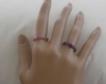 Vintage Mauve Ring with Faceted Bead