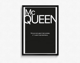 Alexander McQueen Quote, inspirational quote, wall art, quote print, typography, inspirational print, home Decor, poster, gift for her