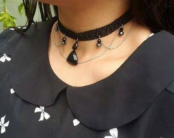 Black Choker with silver chains and black and dark chrome crystal beads, choker trendy gothic choker black and silver, FREE STUD EARRINGS!