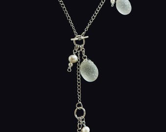 Necklace with white sea glass