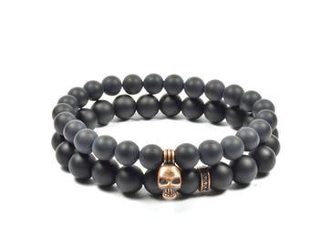 Onyx and Bronze Skull Bracelet Set