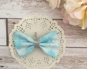 Blue glitter traveler's notebook bow charm