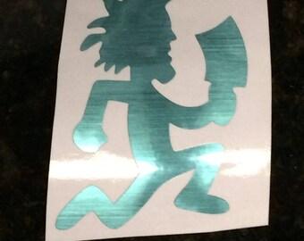 Blue Chrome Vinyl Hatchetman Sticker