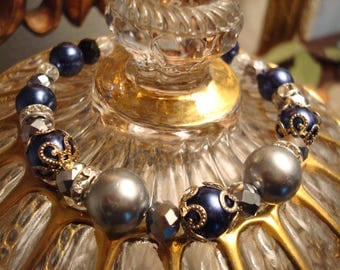 Shades of Gray, Navy Blue Accents Hand Made Beaded Bracelet