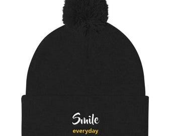 Smile Everyday Pom Pom Knit Cap
