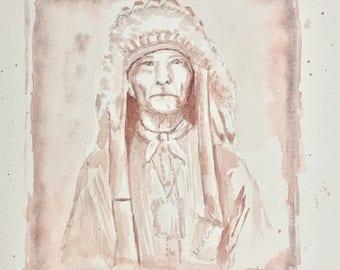 Native American Indian Chief Original Watercolor